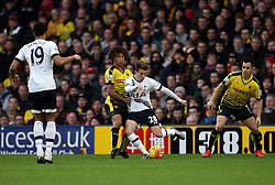 Tommy Carroll of Tottenham Hotspur is put under pressure from Nathan Ake of Watford - Mandatory byline: Robbie Stephenson/JMP - 07966 386802 - 28/12/2015 - FOOTBALL - Vicarage Road - Watford, England - Watford v Tottenham Hotspur - Barclays Premier League