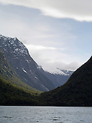 View of a hanging glacial valley, along Milford Sound (Piopiotahi), Fiordland National Park, New Zealand