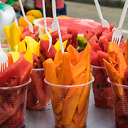 Luscious and fresh tropical fruit is a handy dish for sale in the Old City, Cartagena, Colombia.