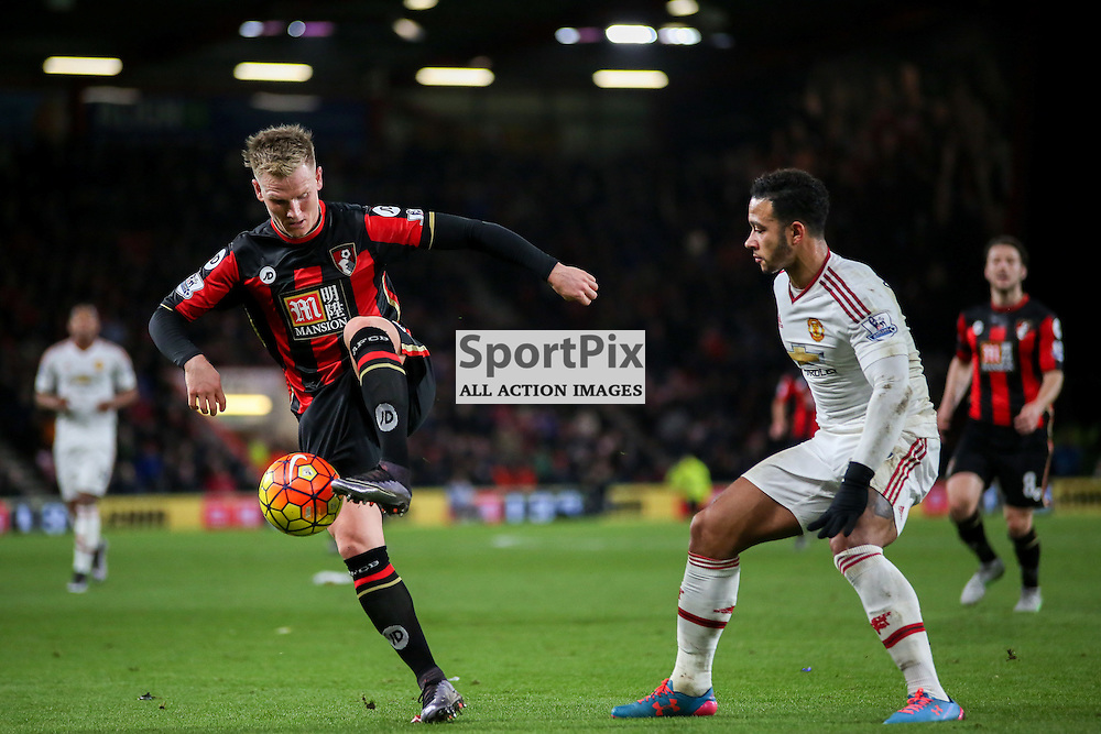 Matt Ritchie, Memphis Depay of Manchester United During Bournemouth vs Manchester United on Saturday the 12th December 2015.