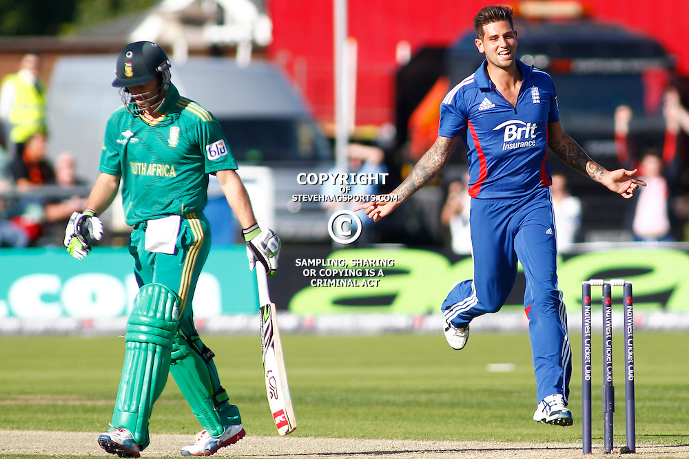 08/09/2012 Durham, England. AB de Villiers (Captain) walks off after being dismissed by a celebrating Jade Dernbach during the 1st Nat West t20 cricket match between  England and South Africa and played at Emirate Riverside Cricket Ground: Mandatory credit: Mitchell Gunn