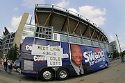 PITTSBURGH - SEPTEMBER 7:  A general stadium exterior appears in the background as a bus promoting Lynn Swann's run for Pennsylvania Governor circles the stadium prior to the Pittsburgh Steelers game against the Miami Dolphins at Heinz Field on September 7, 2006 in Pittsburgh, Pennsylvania. The Steelers defeated the Dolphins 28-17. ©Paul Anthony Spinelli