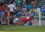 Twickenham. UK. Adam ZARUBA, touches down in the corner during the Canada vs Fiji match at the  2015. Marriott London Sevens. RFU Twickenham Stadium. Surrey. 16.05.2015. [Mandatory Credit: Peter Spurrier/Intersport Images]