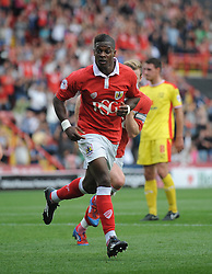 Bristol City's Kieran Agard celebrates  - Photo mandatory by-line: Joe Meredith/JMP - Mobile: 07966 386802 - 27/09/2014 - SPORT - Football - Bristol - Ashton Gate - Bristol City v MK Dons - Sky Bet League One