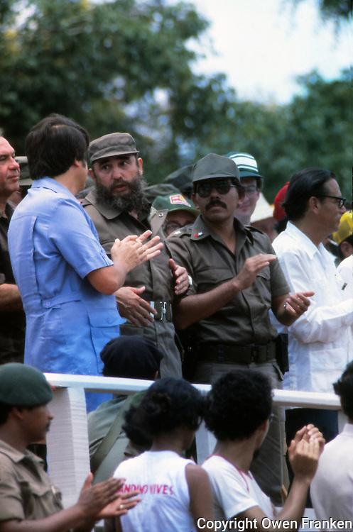 Fidel Castro in Nicaragua, with Daniel Ortega - 1982