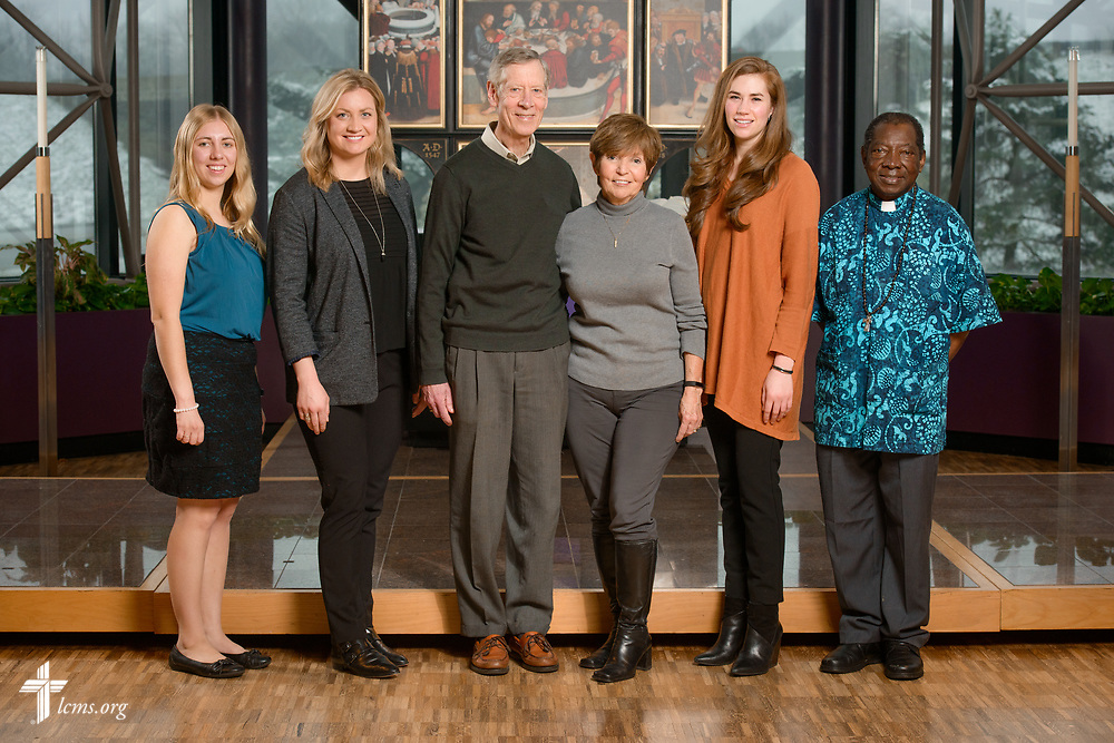 New international missionary portrait with (L-R) Joanna Johnson, GEO missionary to Asia, Johanna Heidorn, GEO missionary to Asia, George and Margot Fretz, GEO missionaries to Asia,  Kayla Hoem, GEO missionary to Spain, and the Rev. Dr. John Loum, career missionary to Africa, at The Lutheran Church–Missouri Synod on Monday, March 13, 2017, in St. Louis. LCMS Communications/Erik M. Lunsford