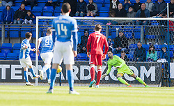 St Johnstone's Danny Swanson scoring their penalty goal. St Johnstone 1 v 2 Aberdeen. SPFL Ladbrokes Premiership game played 15/4/2017 at St Johnstone's home ground, McDiarmid Park.