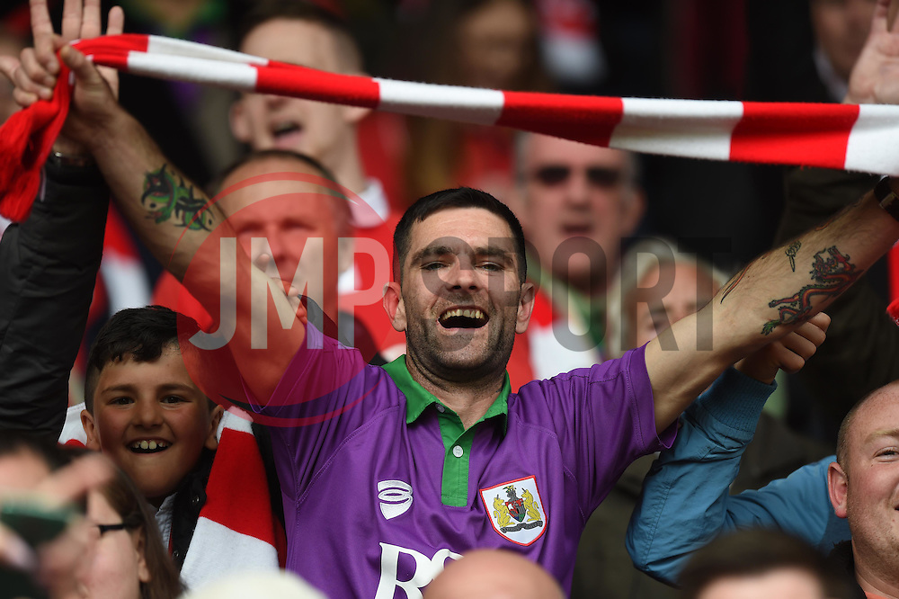 Supporters celebrate Bristol City winning the Sky Bet League One title - Photo mandatory by-line: Paul Knight/JMP - Mobile: 07966 386802 - 03/05/2015 - SPORT - Football - Bristol - Ashton Gate Stadium - Bristol City v Walsall - Sky Bet League One