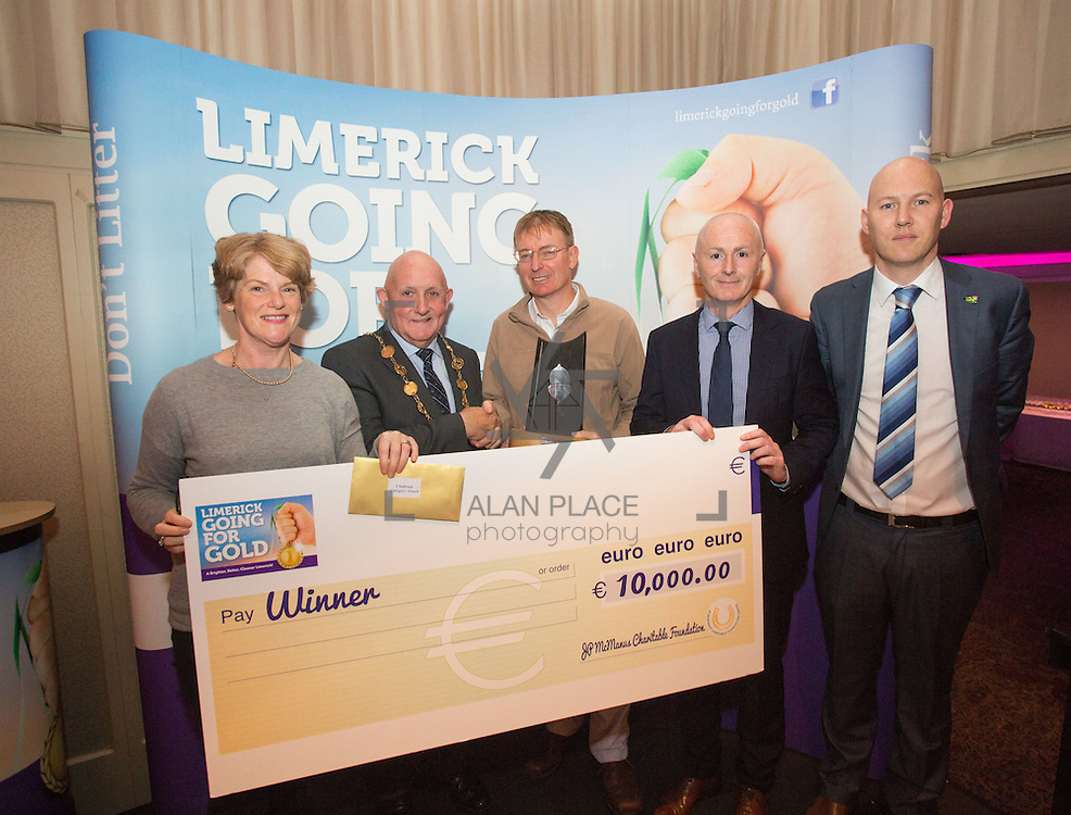 11.10.2016         <br /> The West of Limerick is awake and celebrating after Glin was announced as overall winner of Limerick Going for Gold 2016.<br />  There were jubilant celebrations in The Strand Hotel this evening (Tuesday 11 October) as the residents of the village claimed the top prize. <br /> Pictured are, Marie Fitzgerald, Glin, Mayor, Cllr. Kieran O'Hanlon, Owen Ryan, Glin, Cllr. Seamus Browne and Gordon Daly, Limerick City and County Council. Picture: Alan Place