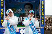 Election compaign for the South Korean local elections close to the the city of Gwangyang. South Korea, Republic of Korea, KOR, 23nd of May 2010.