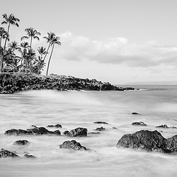 Ulua Beach black and white panorama photo in Wailea Makena Maui Hawaii with Kaho'olawe Island Reserve. Panoramic photo photo ratio is 1:3. Copyright ⓒ 2019 Paul Velgos with All Rights Reserved.