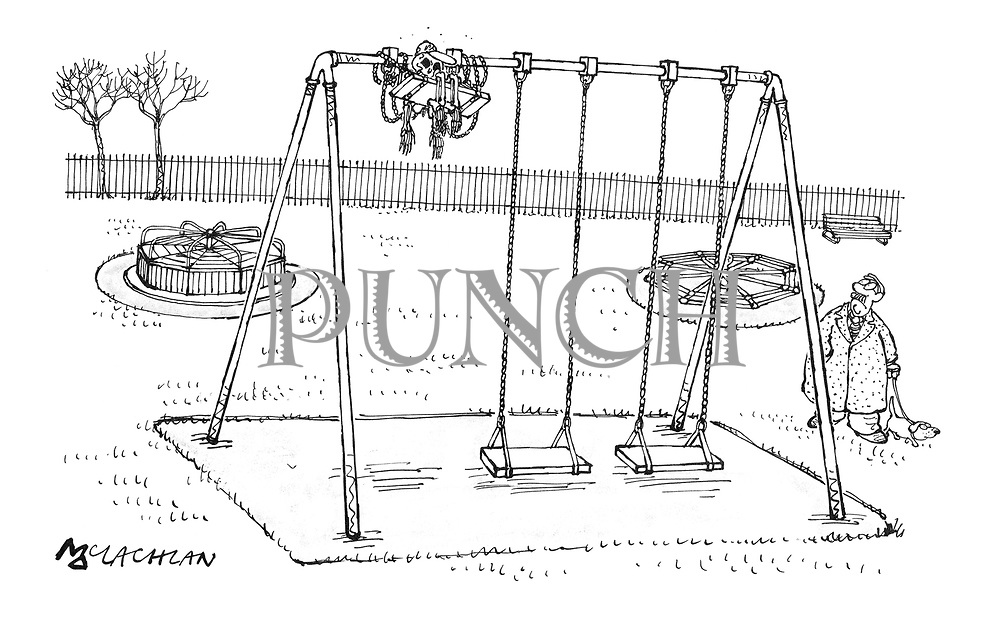 (A man walking his dog in a children's playground spots a skeleton wrapped up in a swing that has wound itself around the top of the frame)