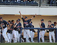 Mississippi's Matt Smith hits a two-run home run vs. Arkansas in a college baseball game at Oxford-University Stadium in Oxford, Miss. on Saturday, May 8, 2010. Ole Miss won 3-2.