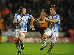 Huddersfield Town's Harry Bunn celebrates his goal with Huddersfield Town's Jonathan Hogg - Photo mandatory by-line: Dougie Allward/JMP - Mobile: 07966 386802 - 01/10/2014 - SPORT - Football - Wolverhampton - Molineux Stadium - Wolverhampton Wonderers v Huddersfield Town - Sky Bet Championship
