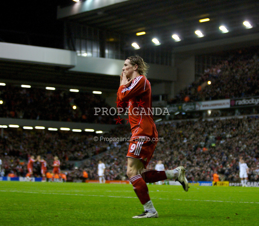 LIVERPOOL, ENGLAND - Saturday, February 2, 2008: Liverpool's Fernando Torres celebrates scoring the second goal against Sunderland during the Premiership match at Anfield. (Photo by David Rawcliffe/Propaganda)