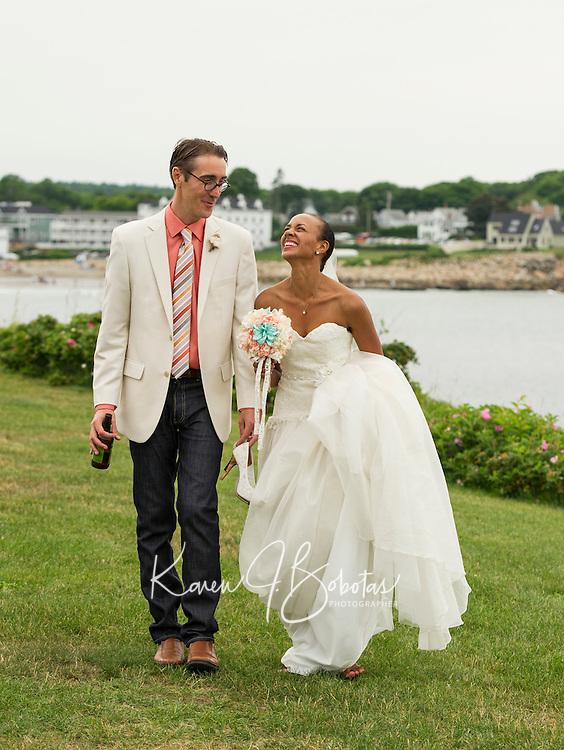 Jen and Tony's Wedding Day.  Portraits by the Sea  York, Maine.  ©2015 Karen Bobotas Photographer