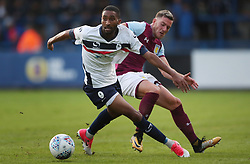 """Telford United's Anthony Dwyer holds off  Aston Villa's Jordan Veretout during the pre-season friendly at New Bucks Head, Telford. PRESS ASSOCIATION Photo. Picture date: Wednesday July 12, 2017. Photo credit should read: Nick Potts/PA Wire. RESTRICTIONS: EDITORIAL USE ONLY No use with unauthorised audio, video, data, fixture lists, club/league logos or """"live"""" services. Online in-match use limited to 75 images, no video emulation. No use in betting, games or single club/league/player publications."""