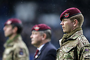 Members of the Parachute Regiment were present at the game to commemorate the service and sacrifice of the Armed Forces Community, poppy, before the EFL Sky Bet Championship match between Queens Park Rangers and Middlesbrough at the Kiyan Prince Foundation Stadium, London, England on 9 November 2019.