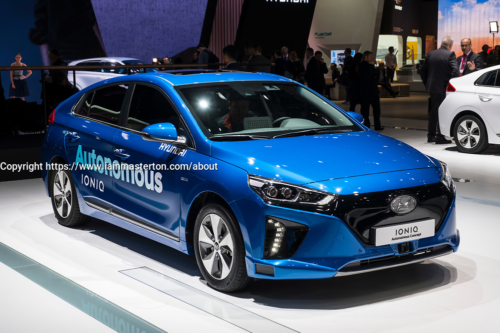 Hyundai Ioniq Autonomous driving concept vehicle at 87th Geneva International Motor Show in Geneva Switzerland 2017