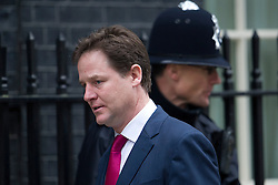 © London News Pictures. 19/03/2013. London, UK.  Deputy Prime Minister Nick Clegg MP arriving on Downing Street in London for cabinet meeting. Photo credit: Ben Cawthra/LNP.