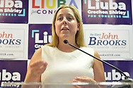Massapequa, New York, USA. August 5, 2018. LIUBA GRECHEN SHIRLEY, Congressional candidate for NY 2nd District, speaks at podium at opening of joint campaign office for her and NY Senator John Brooks, aiming for a Democratic Blue Wave in November midterm elections.