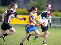 Sligo's Caiitriona Cawley and Grainne Egan  are outrun by Clare's Caoimhe Harvey  in the All ireland U14 C championship final in Kilkerrin-Galway Photo: Andrew Downes..
