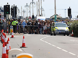 © Licensed to London News Pictures. 01/08/2015. Brighton, UK. Police cordon off a large area of Brighton Seafront due to a suspected package. Brighton Pride Parade was supposed to be taking place and has now been moved to an alternate route. Today August 1st 2015. Photo credit : Hugo Michiels/LNP