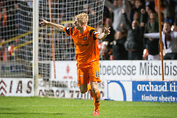 Dundee United's Thomas Mikkelsen cele scoring their third goal. Dundee United 3 v 0 Raith Rovers, Scottish Championship game played 4/2/2017 at Dundee United's stadium Tannadice Park.