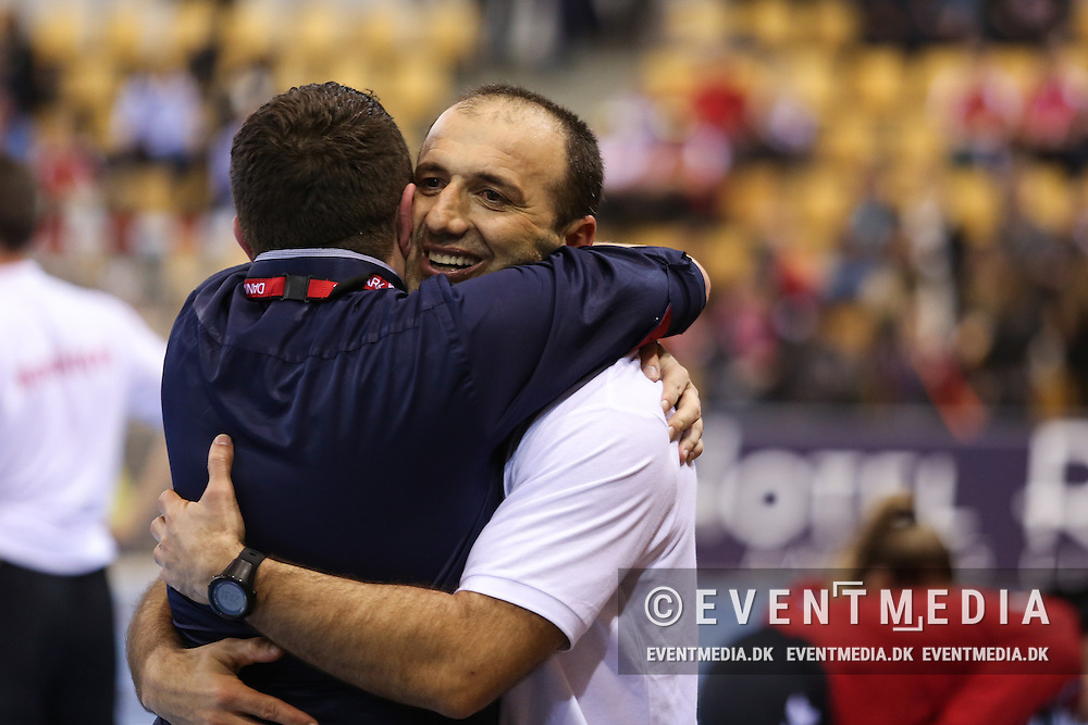 Montenegro coach Dragan Adzic. Match between Denmark and Montenegro in the Olympic Games Qualification Tournament in Ceres Arena, Aarhus, Denmark. (Allan Jensen/EVENTMEDIA).