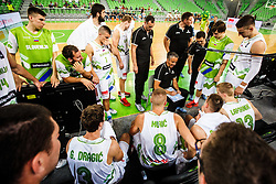 Players of Slovenia with head coach during qualifying match between Slovenia and Bulgaria for European basketball championship 2017, Arena Stozice, Ljubljana on 14th of September 2016, Slovenia. Photo by Grega Valancic / Sportida