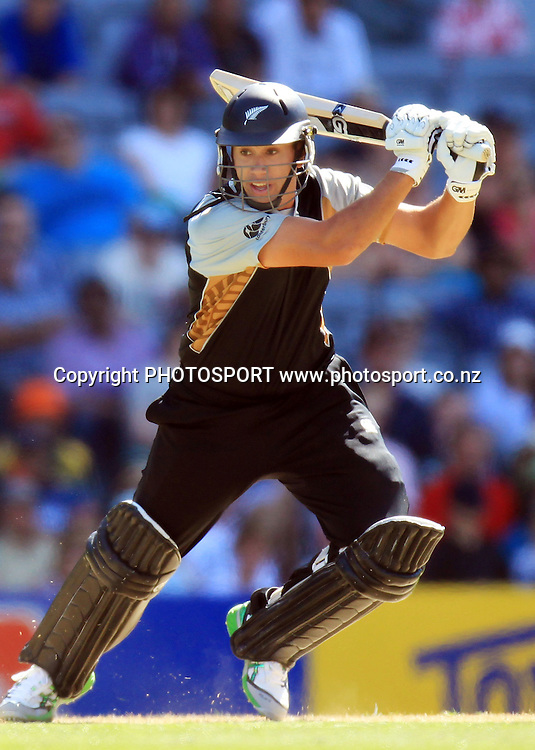 New Zealand captain Ross Taylor cuts. Twenty20 International Cricket match between The New Zealand Black Caps and Pakistan at Eden Park on Boxing Day, Sunday 26 December 2010. Photo: Andrew Cornaga/photosport.co.nz