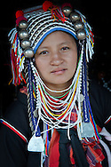 Aka women in the near of Chiang Rai, wearing their typical costumes.