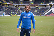 Brighton defender, full back, Inigo Calderon (14) during the Sky Bet Championship match between Milton Keynes Dons and Brighton and Hove Albion at stadium:mk, Milton Keynes, England on 19 March 2016. Photo by Dennis Goodwin.
