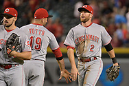 PHOENIX, AZ - JULY 08:  Joey Votto #19 and Zack Cozart #2 of the Cincinnati Reds celebrate after closing out the MLB game against the Arizona Diamondbacks at Chase Field on July 8, 2017 in Phoenix, Arizona. The Cincinnati Reds won 7-0.  (Photo by Jennifer Stewart/Getty Images)