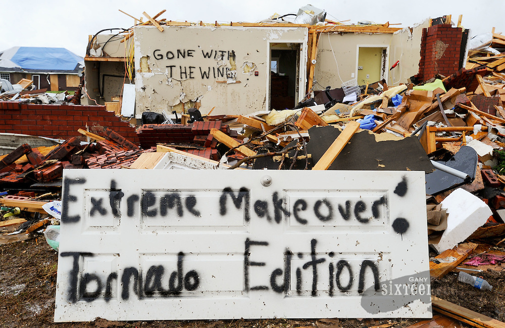 Photo by Gary Cosby Jr.  Residents of Camden Ct. near McCulley Mill Rd. in eastern Limestone County used humor to help deal with the storm damage.  Many residents left humorous signs painted on the remains of their homes.