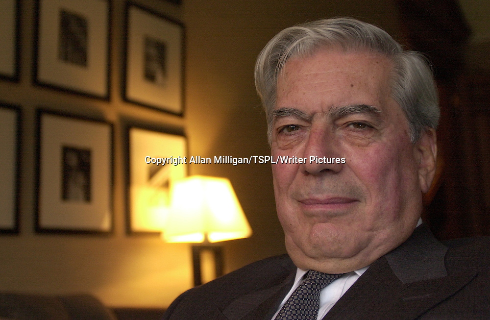 Mario Vargas Llosa, the Peruvian writer and author during his visit to  Glasgow pictured here at One Devonshire Gardens Hotel in Glasgow.<br /> <br /> Copyright Allan Milligan/TSPL/Writer Pictures<br /> contact +44 (0)20 8224 1564<br /> sales@writerpictures.com<br /> www.writerpictures.com