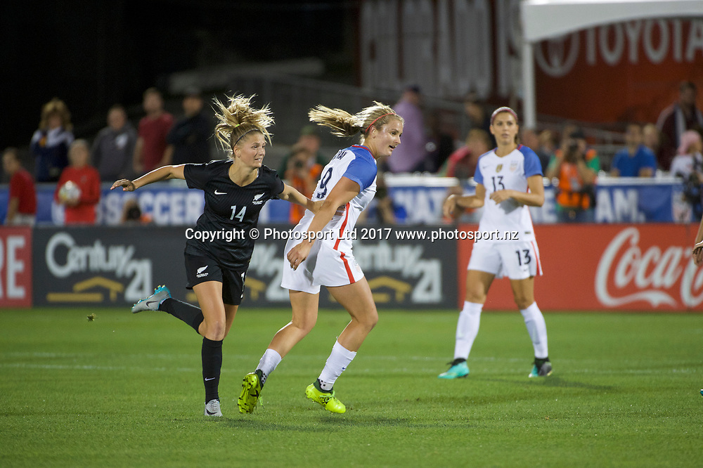 Commerce City, Colorado - Friday September 15, 2017:  Katie Bowen (14) of the New Zealand Women's National Football Team against the USWNT at Dick's Sporting Goods Park. Copyright photo: Jamie Schwaberow / ISI / www.photosport.nz