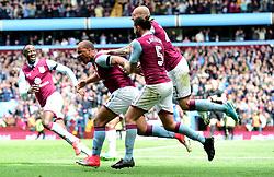 Gabriel Agbonlahor of Aston Villa celebrates his winning goal with team mates  - Mandatory by-line: Joe Meredith/JMP - 23/04/2017 - FOOTBALL - Villa Park - Birmingham, England - Aston Villa v Birmingham City - Sky Bet Championship