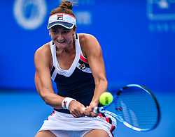 SHENZHEN, Jan. 5, 2018  Irina-Camelia Begu of Romania hits a return during the semi-final match against her compatriot Simona Halep at the WTA Shenzhen Open tennis tournament in Shenzhen, China, Jan. 5, 2018. Simona Halep won 2-0. (Credit Image: © Mao Siqian/Xinhua via ZUMA Wire)