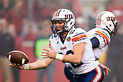 FAYETTEVILLE, AR - OCTOBER 31:  Trent Garland #22 of the UT Martin Skyhawks makes a hand off during a game against the Arkansas Razorbacks at Razorback Stadium on October 31, 2015 in Fayetteville, Arkansas.  The Razorbacks defeated the Skyhawks 63-28.  (Photo by Wesley Hitt/Getty Images) *** Local Caption *** Trent Garland