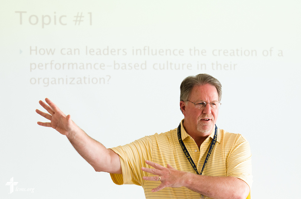 "Adjunct Instructor Terrence ""Terry"" P. Koves teaches a Strategic Human Resources MBA class at Concordia University, Saint Paul, on Tuesday, August 5, 2014, in St. Paul, Minn.   LCMS Communications/Erik M. Lunsford"