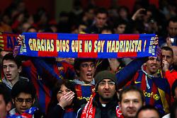 16-02-2011 VOETBAL: ARSENAL - FC BARCELONA: LONDON<br /> Round of last 16, at the Emirates Stadium in London / Barcelona fans <br /> **NETHERLANDS ONLY** <br /> ©2011-WWW.FOTOHOOGENDOORN.NL/ nph/ Kieran Galvin