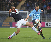 Dundee's Matt Lockwood clears from Falkirk's Philip Roberts - Falkirk v Dundee, SPFL Championship at <br /> Falkirk Stadium<br />  - &copy; David Young - www.davidyoungphoto.co.uk - email: davidyoungphoto@gmail.com