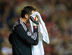 LIVERPOOL, ENGLAND - Wednesday, September 16, 2009: Debreceni's goalkeeper Vukasin Poleksic looks dejected after conceding Liverpool's first goal during the UEFA Champions League Group E match at Anfield. (Photo by David Rawcliffe/Propaganda)