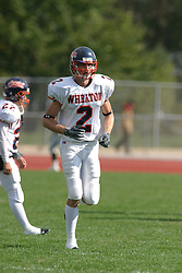 22 October 2005: Thunder WR Chris Fossum. The Illinois Wesleyan Titans posted a 23 - 14 home win by squeeking past the Thunder of Wheaton College at Wilder Field (the 5th oldest collegiate field in the US) on the campus of Illinois Wesleyan University in Bloomington IL