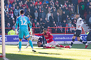 Lewis Grabban goes during the EFL Sky Bet Championship match between Nottingham Forest and Luton Town at the City Ground, Nottingham, England on 19 January 2020.