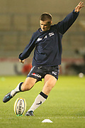 Sale's A J MacGinty warming up during the Aviva Premiership match between Sale Sharks and Gloucester Rugby at the AJ Bell Stadium, Eccles, United Kingdom on 29 September 2017. Photo by George Franks.