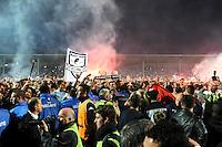 Joie Angers - Envahissement du terrain - Joie Angers - Serge LE DIZET - Accession en L1 - 22.05.2015 - Angers / Nimes - 38eme journee Ligue 2<br />Photo : Nolwenn Le Gouic / Icon Sport