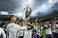 Sergio Ramos of Real Madrid and his team mates lift the Champions League Trophy during the UEFA Champions League Final match between Real Madrid and Juventus at the National Stadium of Wales, Cardiff, Wales on 3 June 2017. Photo by Giuseppe Maffia.<br /> <br /> Giuseppe Maffia/UK Sports Pics Ltd/Alterphotos