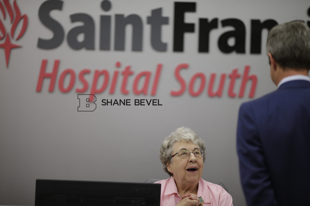8/9/17 1:47:55 PM -- Photos of Saint Francis South employees and David Weil. <br /> <br /> Photo by Shane Bevel